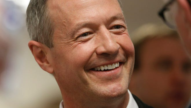 Democrat Martin O'Malley greets guests Friday, April 10, 2015 at the fourth Polk County Democrats' Spring Dinner at the United Auto Workers Hall in Des Moines.