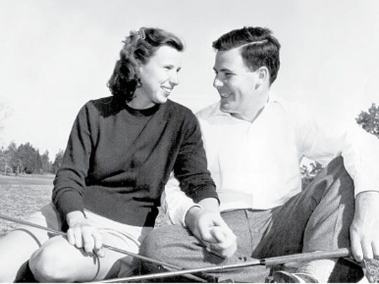 "Pete and Alice Dye at Rollins College in Florida circa 1947. Photo courtesy of Chris Wirthwein, author of the history, ""Crooked Stick Golf Club."""