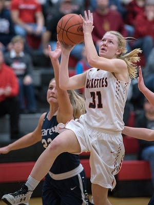 Buckeye Central's Kyleigh Brown drives to the basket.
