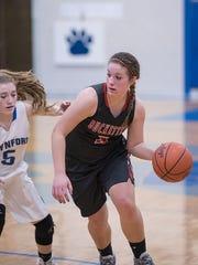 Buckeye Central's Jenna Karl drives to the basket.