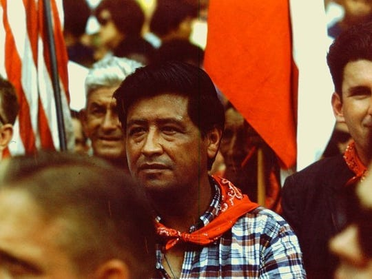 United Farm Workers Union founder Cesar Chavez rallies with the marchers on the grounds of the Texas Capitol on Labor Day 1966.