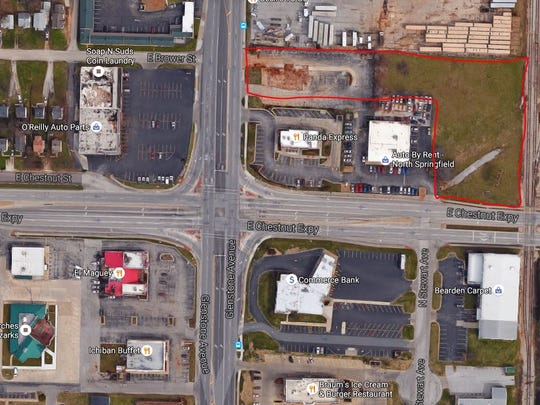 The Kitchen, Inc., recently purchased the land outlined in red for its new campus. It is on the northeast corner of Chestnut Expressway and Glenstone Avenue.