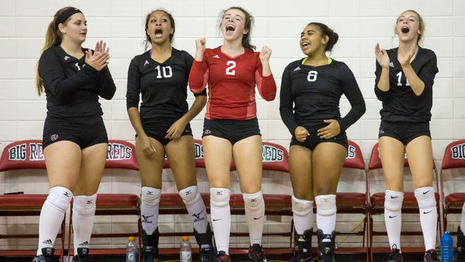 Port Huron players celebrate on the bench during a volleyball game at Port Huron High School.