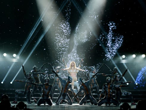 Britney Spears in concert in Las Vegas during a preview on Dec. 26, 2013. Her two-year residency, 'Britney: Piece of Me,' officially launched Dec. 27.