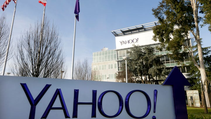This Jan. 14, 2015 photo shows signage outside Yahoo's headquarters in Sunnyvale, Calif.