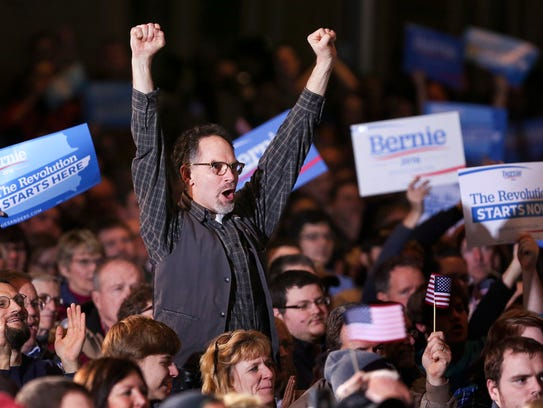 Supporters of Sen. Bernie Sanders at a campaign stop