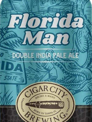 Cigar City Florida Man, a DIPA brewed with five hop varieties and a light touch of Canadian honey malt for notes of peach and tropical fruit. 8.5% ABV.