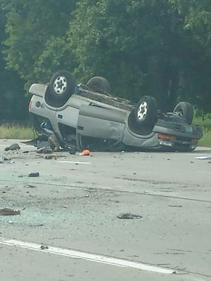 The vehicle involved in a rollover accident near the I-29 southbound and W 26th Street interchange.