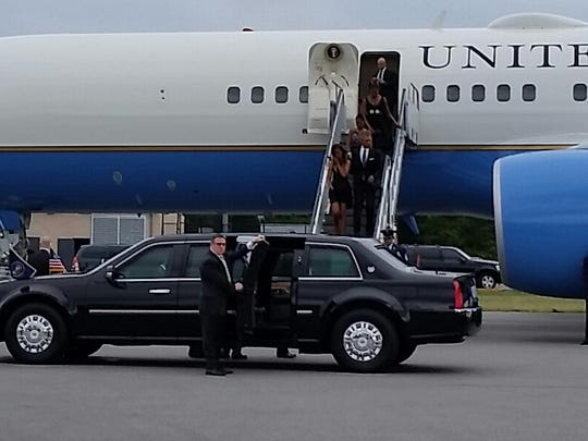 The First Family arrives at Westchester County Airport on Saturday evening.
