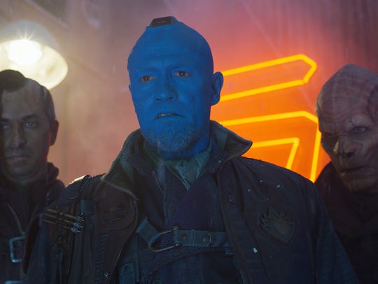 Yondu (Michael Rooker, center) is ousted from his role