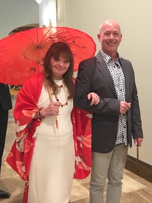 Angel View residential client Marlina with board member-turned model Chris Mobley, CEO of Modernism Week