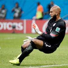 United States goalkeeper Tim Howard (1) makes a save against Belgium during the second half of their round of sixteen match in the 2014 World Cup at Arena Fonte Nova. Mandatory Credit: Winslow Townson-USA TODAY Sports