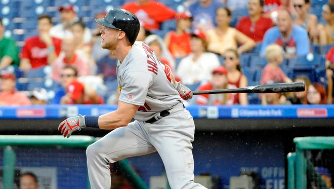 St. Louis Cardinals left fielder Jeremy Hazelbaker hits a home run during the eighth inning against the Philadelphia Phillies on Aug. 21 at Citizens Bank Park. The Cardinals defeated the Phillies, 9-0.