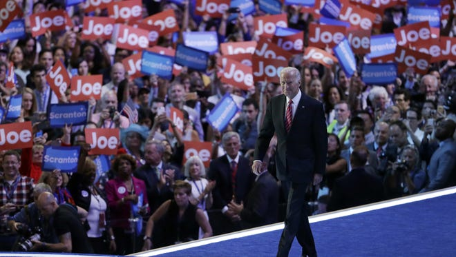 Vice President Joe Biden takes the stage during the third day of the Democratic National Convention, Wednesday, July 27, 2016, in Philadelphia. (AP Photo/John Locher)