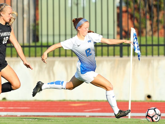 MTSU freshman Peyton DePriest takes a shot in a game against Evansville on Sept. 17, 2017.