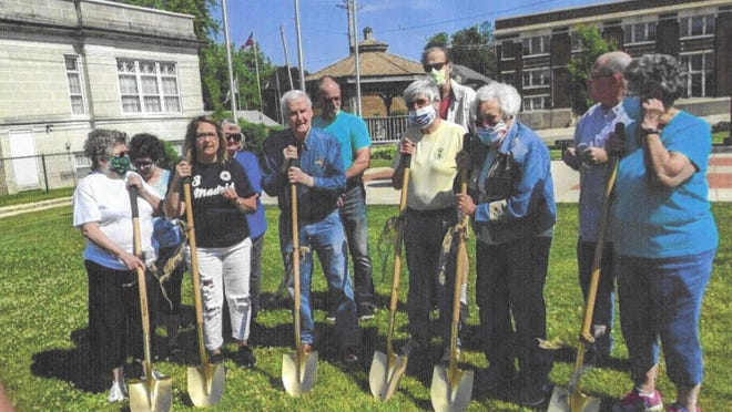 The Abingdon Historical Society held a groundbreaking ceremony June 13 for its new museum on South Main Street. Pictured in the front row are Marg Bowton, Rhonda Dalton, Jim Davis, Jaylynne Landon, Eleanor Landon and Bev Reffett. In the back row are Vicky Jones, Jeannie Hanna, Steve Jones, Mike Hobbs and Jeff Nelson.