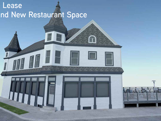 A rendering shows plans for an outdoor deck at the