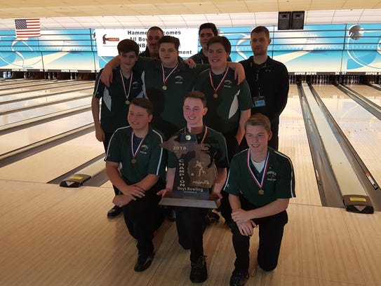 Members of the Pennfield boys bowling team pose with