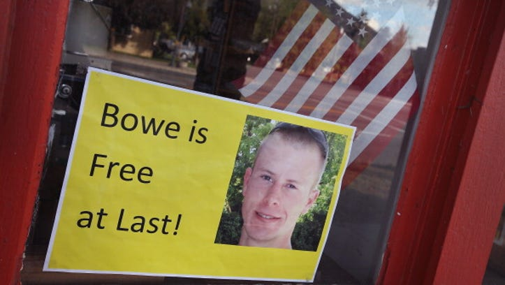 HAILEY, ID - JUNE 01:  A sign announcing the release of Sgt. Bowe Bergdahl sits in the window of the Hailey Paint and Supply store on Main Street June 1, 2014 in Hailey, Idaho. Sgt. Bergdahl was captured in Afghanistan in 2009 while serving with U.S. Armys 501st Parachute Infantry Regiment in Paktika Province. Yesterday he was released after a swap for 5 prisoners being held at Guantanamo Bay was arranged. Bergdahl was considered the only U.S. prisoner of war held in Afghanistan.  (Photo by Scott Olson/Getty Images)