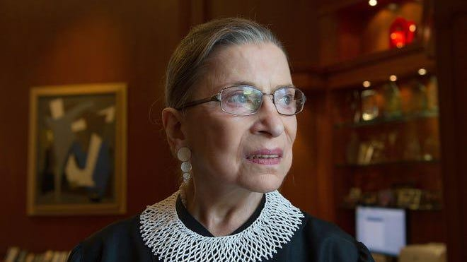U.S. Supreme Court Justice Ruth Bader Ginsburg poses in her chambers in 2013.