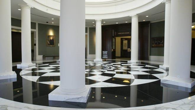 The sixth floor lobby at the Hall of Justice, home to the Michigan Supreme Court.