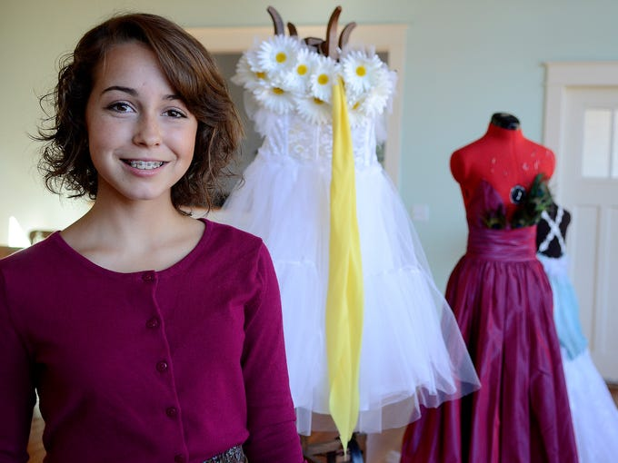 Kate Miles, 15, will be showing her designs during Portland Fashion Week on Oct. 1. Photographed at her home in Scio, Ore., on Wednesday, Sept. 10, 2014.