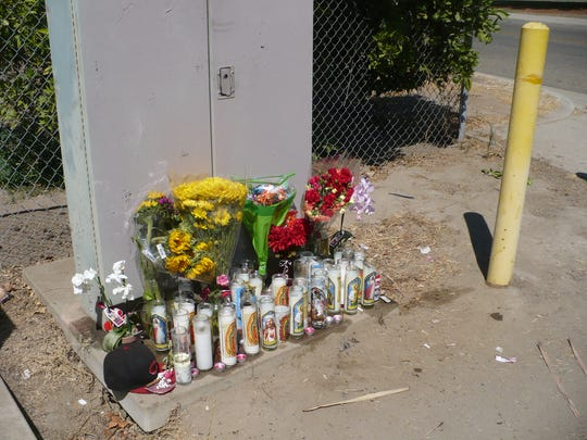 A shrine for Luis Arenas was placed at the north end