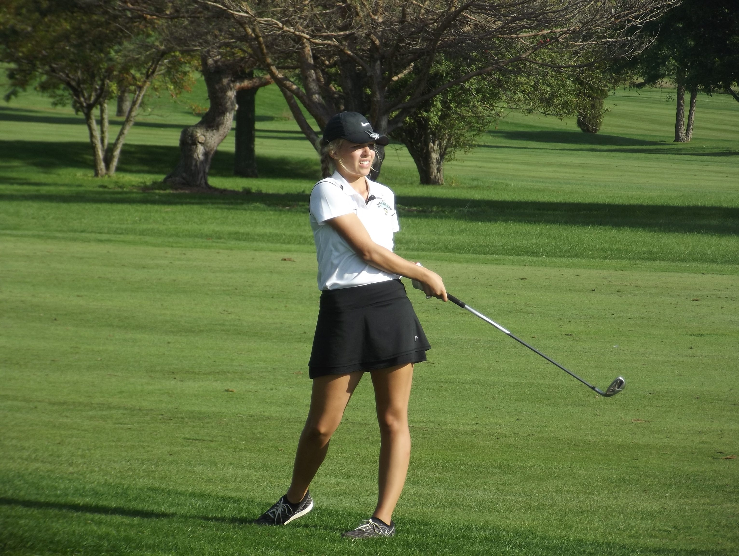Green Bay Preble senior Sydney Onesti, shown at the FRCC championship on Sept. 25 at Wander Springs Golf Course in Greenleaf, is one three players for the Hornets this season that has posted the team's best score at a meet.