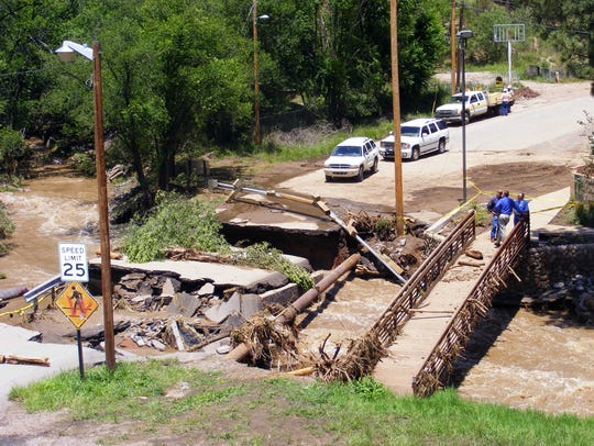 The bridge and road across the Rio Ruidoso at Eagle Drive was one of about a dozen bridges destroyed or damaged in 2008.