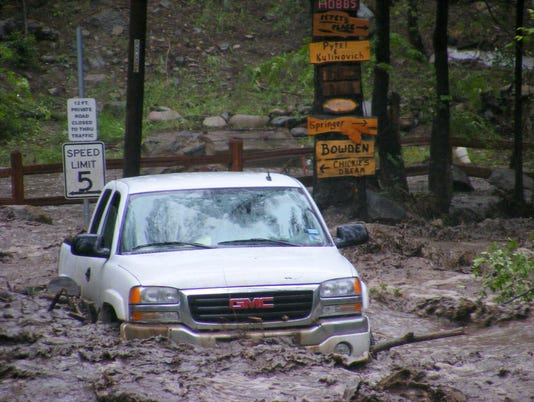 close-up white car in 2008 flood