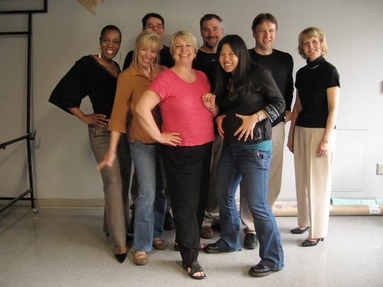 BACK ROW: Nicole Avery, Greg Crawford, Jeff Seidel, Rodney Curtis and Susan Hood and FRONT ROW: Ellen Creager, Sylvia Rector, Erin Chan, Dinglet -- all from the Features Department of the Detroit Free Press -- Wednesday, May 6, 2009. (ROMAIN BLANQUART/Detroit Free Press)