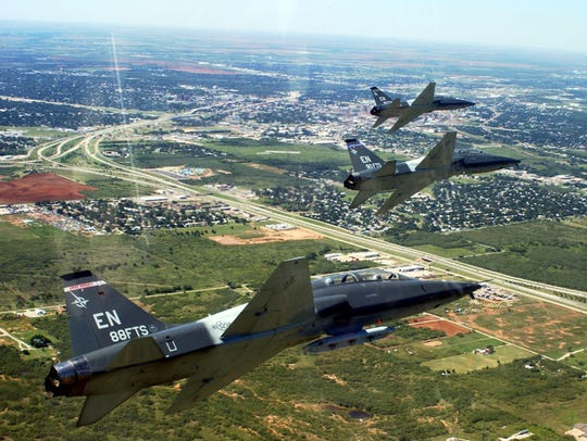 T-38s fly in formation during an event at Sheppard Air Force Base.
