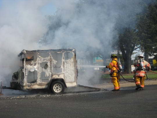 A landscaper trailer caught fire on Route 208 south in Fair Lawn on Tuesday, May 9, 2017.