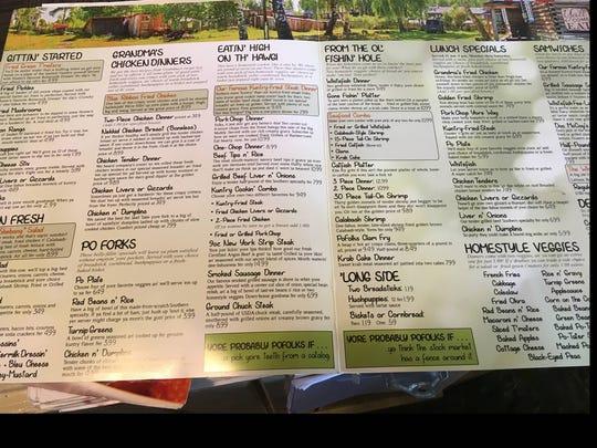 The menu at Po Folks' Florida location.