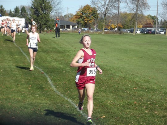 De Pere sophomore Olivia De Cleene placed second with a time of 19 minutes, 33.36 seconds to advance to state for a second time.