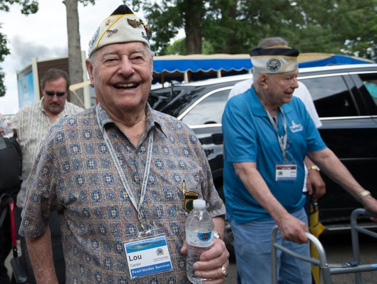 Pearl Harbor Survivor Lou Cantor and others gather