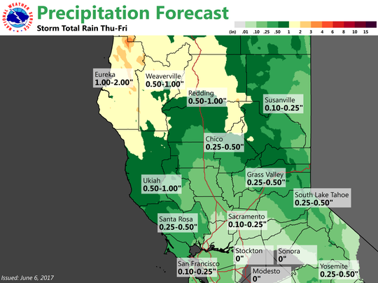 Map shows expected rain totals for storm expected to hit North State starting Wednesday evening.