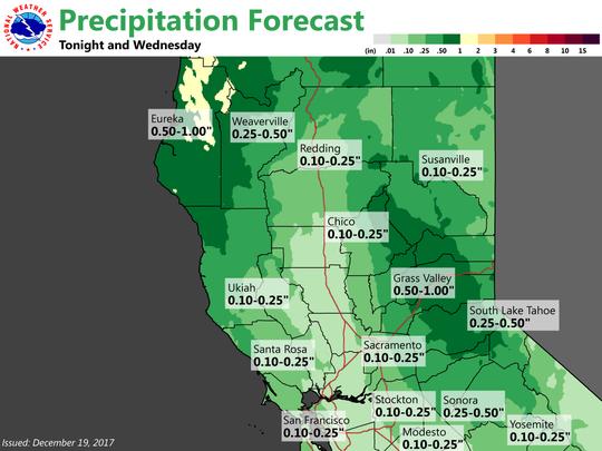Precipitation forecast for Tuesday night into Wednesday.