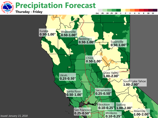The National Weather Service predicts rain at lower elevations on Thursday and Friday.