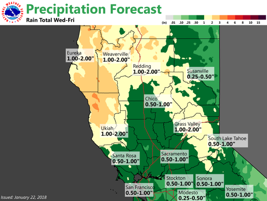 Redding could see up to 2 inches of rain this week