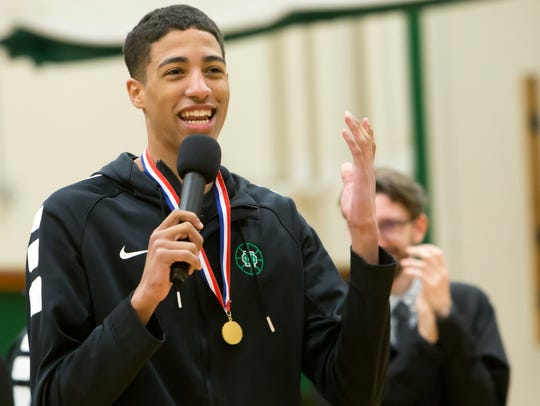 Tyrese Haliburton speaks during a welcome-home celebration at Oshkosh North in March.