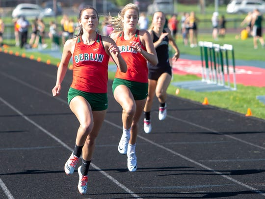 Berlin's Isabelle Heinz runs the 100 meters during the East Central Conference meet May 15.
