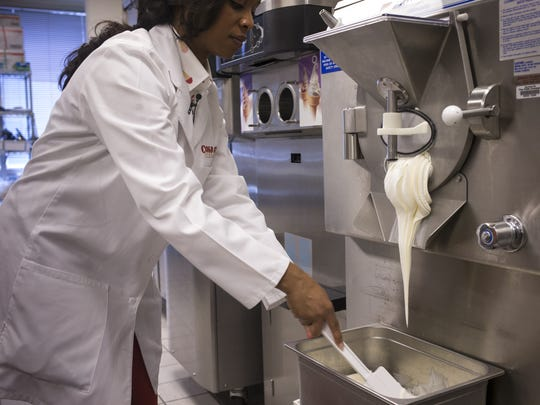 Dr. Maya Warren makes a batch of cake batter, July