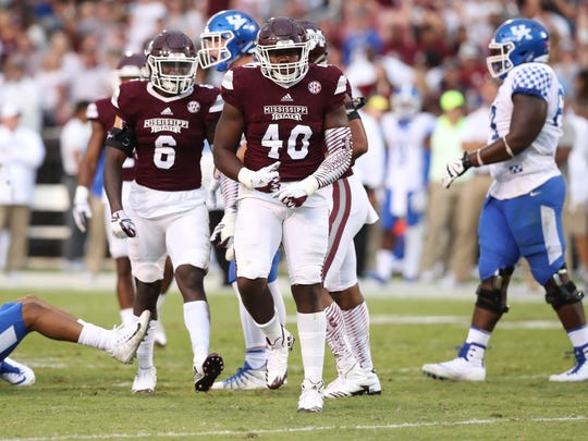 Mississippi State linebacker Erroll Thompson (40) will be the Bulldogs' leader in the middle in the 2019 season, as he was in 2018.
