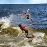 Local skimboarders Will Tracy and Sean Stratton getting ready to compete in SkimBash 2016, Sept. 10 on the Sea Bright Beach.