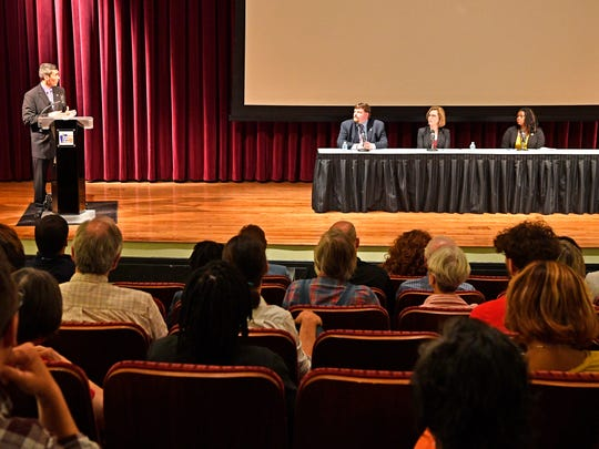Tennessean Opinion Engagement Editor David Plazashosts the Tennessean Affordable Housing Forum at the Nashville Public Library with panelists that included Laura Berlind, founding executive director of The Sycamore Institute, a nonpartisan public policy research center.Adriane Bond Harris, senior advisor for affordable housing for the Mayor's Office of Economic Opportunity and Empowerment.Jeremy Heidt, director of industry and government affairs at the Tennessee Housing Development Agency took questions from the audience at the Tennessean Affordable Housing Forum at the Nashville Public LibraryWednesday April 26, 2017, in Nashville, TN