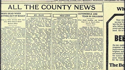 All the County News as presented in The Gazette, December 13, 1915. One stories in the York newspaper, right, told about a sign of the times - a meetup of machine and horseflesh.