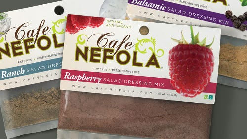 This is the Café Nefola sampler pack of dressings.