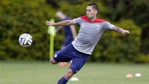 United States' Clint Dempsey works out during a training session in Sao Paulo, Brazil.