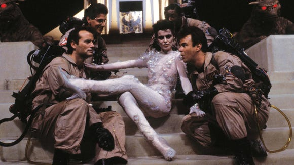 """Slavitza Jovan on the set of """"Ghostbusters"""" with Bill"""